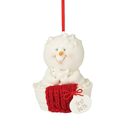 "Department 56 Snowpinions ""First Bath"" Porcelain Snowman Hanging Christmas Ornament, 2.8"""