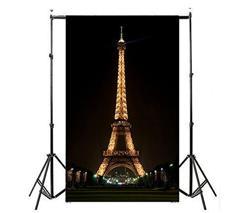 TMOTN 5×7ft Lights up the Night Paris Eiffel Tower Photography Backdrop Photo Background Studio Props D1566 for $<!--$18.99-->