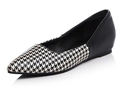 Easemax Womens Casual Pointed Toe Slip On Low Cut Flats Shoes Black LDiQ2