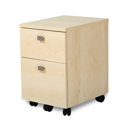 South Shore 2-Drawer Mobile File Cabinet on Casters, Natural Maple