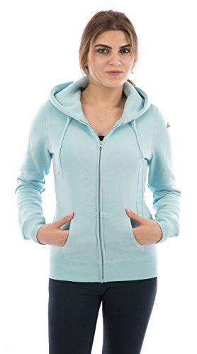 FORBIDEFENSE Women Fleece Hoodies Full Sleeve-Front Zip Premium Hood 2 Split Pocket Baby Blue Medium