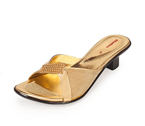 Khadims Womens Gold Faux Leather Heels - 7
