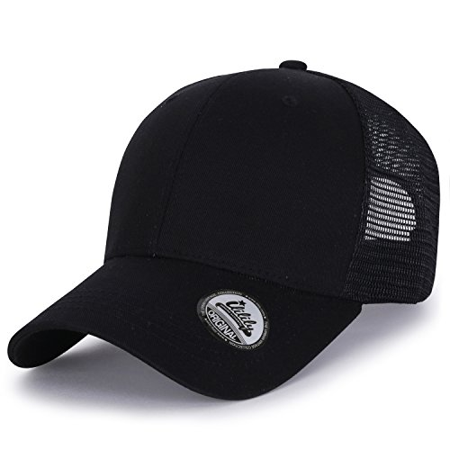 ililily Extra Big Size Adjustable Mesh Back Curved Baseball Cap Trucker Hat (Trucker Hat Ball Cap)