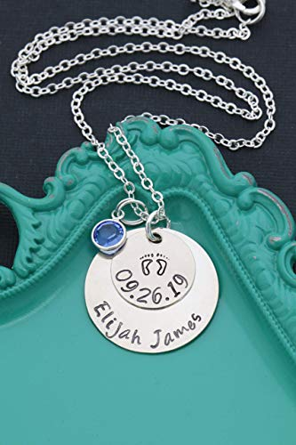 (Personalized Baby Necklace – DII ABC - New Mom Gift - Handstamped Handmade Necklace – 1, 5/8 Inch 15, 25.4MM Discs – Customize Name Date – Choose Birthstone)