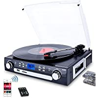 DIGITNOW Bluetooth Record Player with Stereo Speakers, Turntable for Vinyl to MP3 with Cassette Play, AM/FM Radio…