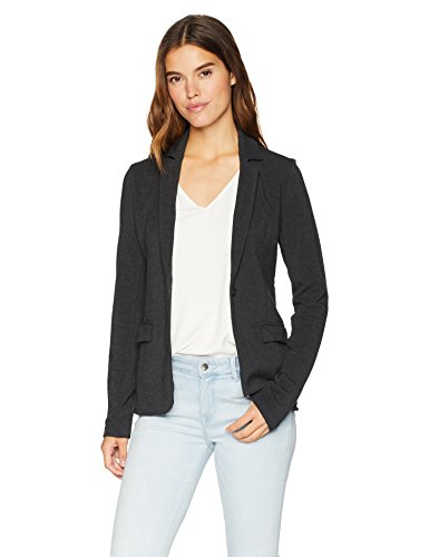 Majestic Filatures Women's French Terry Long Sleeve 1-Button Blazer, Anthracite Chine, 2