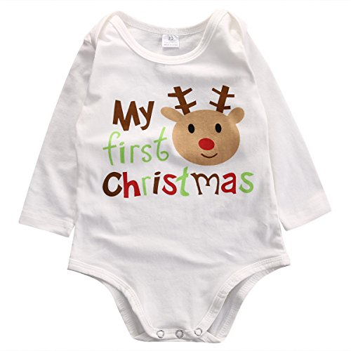 1st Christmas Infant Creeper - Unisex Baby Boys Girls My First Christmas Red Nose Reindeer Long Sleeve Bodysuit Romper Outfit (70(3-6M), White)
