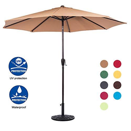 Sundale Outdoor 9 Feet Aluminum Market Umbrella Table Umbrella with Crank and Auto Tilt for Patio, Garden, Deck, Backyard, Pool, 8 Alu. Ribs, 100% Polyester Canopy, Tan