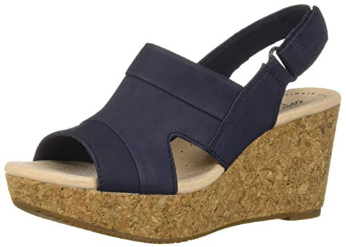Blue Wedge Shoes - CLARKS Women's Annadel Ivory Wedge Sandal Navy Nubuck 100 W US