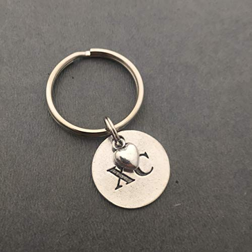 XC Love Cross Country Key Chain - Pewter Heart and Pewter Round XC Pendant on Round Stainless Steel Key Ring