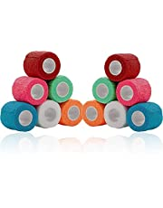 Vet Wrap - (Pack of 12-2 inch x 5 Yard Rolls) Self Adherent Wrap Cohesive Compression Bandage and Medical Gauze Bandage Roll Tape for Dogs, Cats, Horses, Assorted Colors