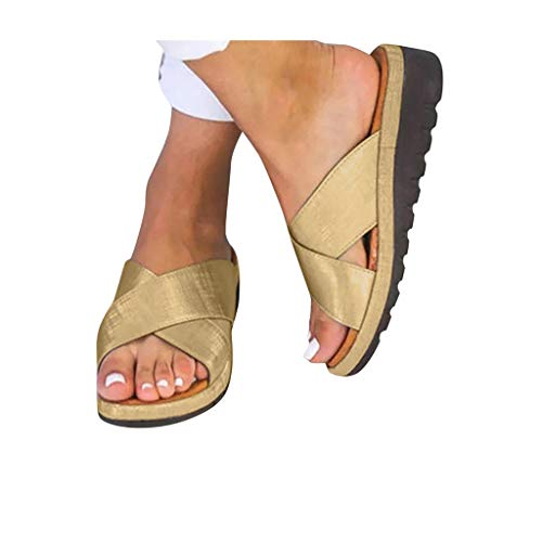Women Comfy Platform Toe Ring Wedge Sandals Shoes Summer Open Toe Ankle Casual Shoes Roman Slippers Sandals
