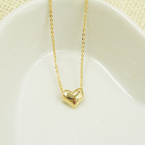Gold Heart Chain - AKOAK 316L Stainless Steel Classic Women Gold Heart Bib Link Chain Pendant Necklaces Lovely Peach Heart Necklace