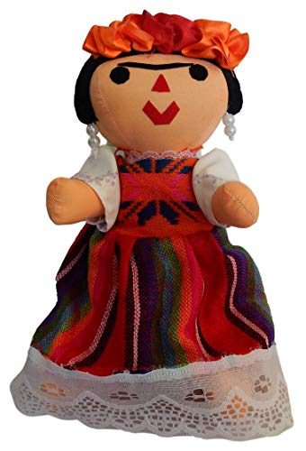 Juana Bartolo Frida Kahlo, Typical Handmade Mexican Doll, with Earrings, Assorted - Kahlo Doll Frida