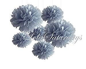 LolaSaturdays Paper Pom Poms 3 Sizes 6 Pack Silver by LolaSaturdays