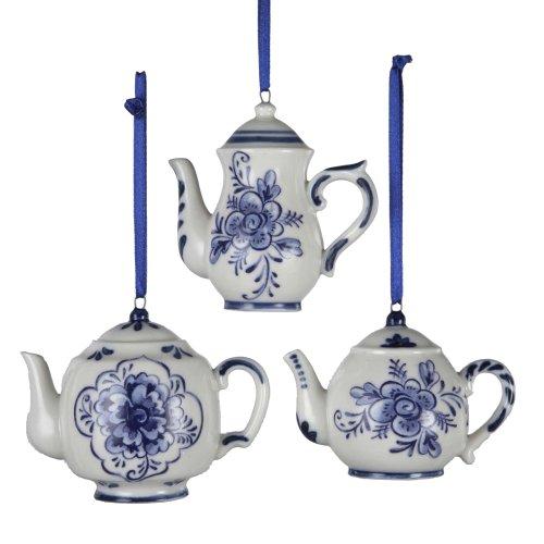 "Kurt Adler 2-3"" Porcelain Delft Blue Teapot Ornament Set of 3"
