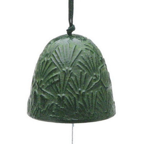 Wind Japanese Bell (Japanese Furin Wind Chime Nanbu Bell Iron Iwachu #TIR-148 Green Pine Needle Design, Made in Japan)