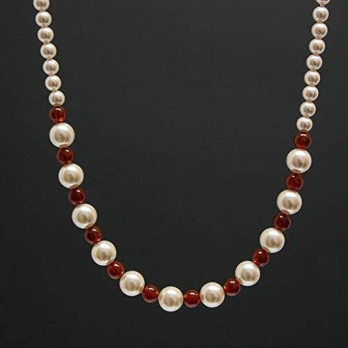 Hessonite Garnet Gemstone Necklace - Swarovski Pearls, Sterling Silver, 16-in