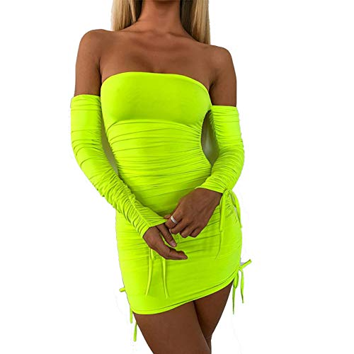 Women's Neon Green Ruched Off Shoulder Long Sleeve Bodycon Dress Sexy Dresses Party Night Club Dresses (S)