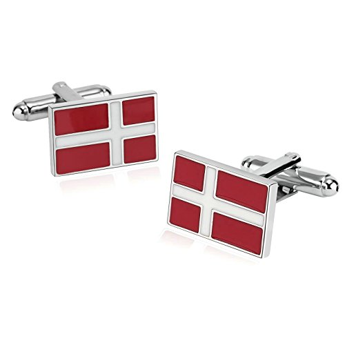 Enamel Cross Cufflinks - Aooaz Novelty Stainless Steel Mens Cufflinks Enamel Christ Cross Rectangle Red White With Gift Box