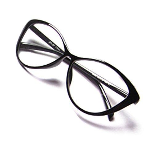 Hommes Femmes Cat Eye Lunettes - Transparents Lunettes Cadre - Mode Lunettes - hibote # 122901 Noir