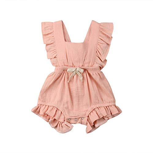 Little Girl Clothes Baby Girl Romper Fashion Pink Ruffle Sleeveless Bow Cool Backless Bubble Cotton Romper Baby Outfits for Girls Coming Home Outfit 18-24 Months