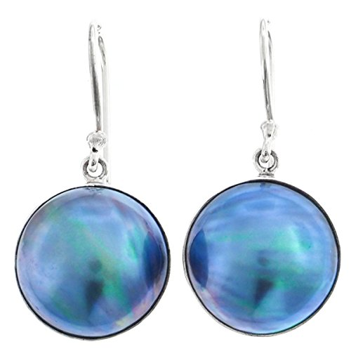 - Blue Mabe Cultured Pearl 925 Sterling Silver Earrings, 11/16