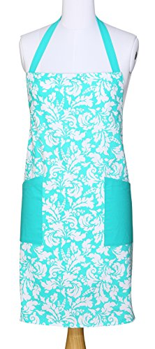 Yourtablecloth Kitchen Apron for Women and Men 100% Cotton, Adjustable Size, 2 Side Pockets-Preferred Choice for Chef Aprons & Ideal for Home Chefs too-be it Baking, Cooking, Barbecuing-Turquoise