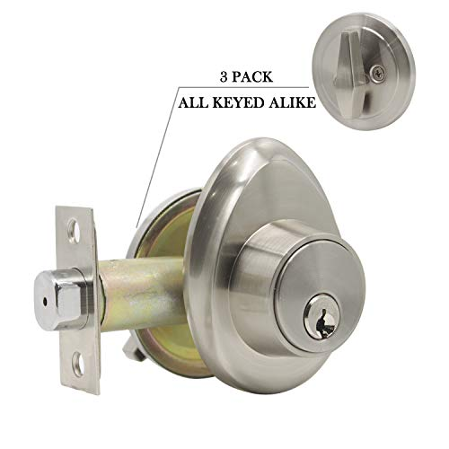 (Contractor Pack of 3, Single Cylinder Deadbolts with Same Keys, Satin Nickel Finish Classic Deadbolts for Front/Exterior/Interior Doors, Keyed on One)