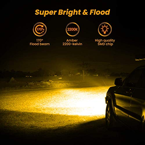 AMBOTHER LED Light Bar Pods 4-Inch Amber White 12800-Lumen Equivalent to 120-Watt Incandescent Bulbs Driving Fog Off Road Triple Row Waterproof Spot Flood Combo Beam Cubes Lights for Truck Jeep ATV