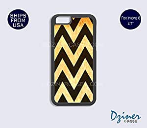iPhone 6 Case - 4.7 inch model - Gold Black Rusty Chevron iPhone Cover