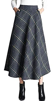 chouyatou Women's Classic High-Waist A-Line Pleated Long Maxi Plaid Wool Skirt