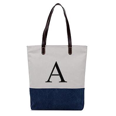 8e28cdcad1b0 Amazon.com  Embroidered Monogram Name Duotone Blue Women Casual Canvas  Shoulder Bags Bag Messenger Bag Zipper Tote Bags  Shoes
