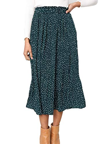 Naggoo Women's Chiffon Skirt High Waisted Swing Pleated Polka Dot Flared Midi Skirts Green,S - Green Polka Dot Skirt