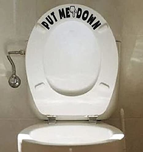 PUT ME DOWN Toilet Seat Bathroom Hand Vinyl Decal Sticker Sign Reminder