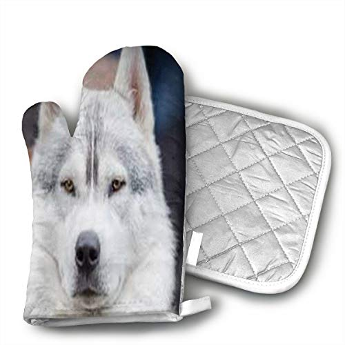 QEDGC White Dog Oven Mitts with Quilted Cotton Lining - Heat Resistant Kitchen Gloves, Matching Mini Oven Mitts
