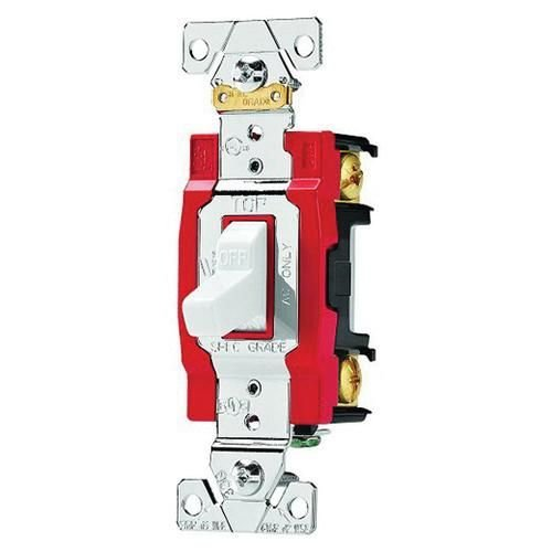 Cooper Wiring Device AH1221W 120/277 Volt AC 20 Amp 1-Pole Industrial Specification Grade Lighted Toggle AC Switch White