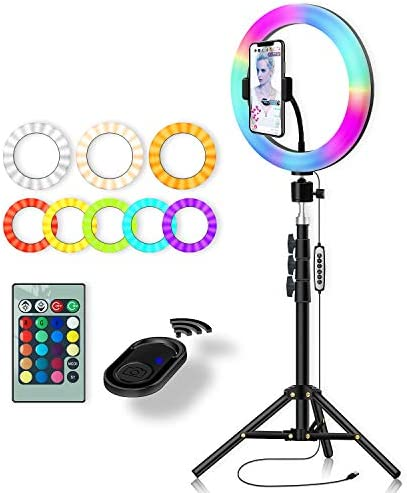 RGB Color Ring Light: Yingnuost 10 inch Led Remote Control Circle Lamp with Phone Holder & Camera Tripod Stand for Photography Lighting Selfie iPhone Filming TIK Tok YouTube Video Recording