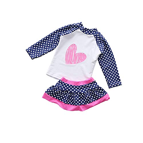 Digirlsor Kids Toddler Girls Two Piece Skirt Swimsuit Rash Guard Long Sleeve Sunsuit UV Sun Protection Beach Swimwear Set Navy Blue
