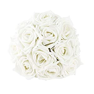 IPOPU Artificial Flowers, Real Looking Artificial Floral Foam Rose with Stem DIY for Wedding Arrangement Bridesmaid Bridal Bouquets Home Party Decoration 30
