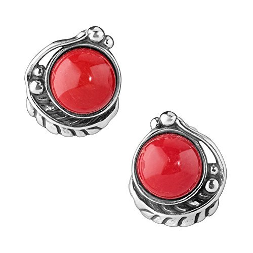 Red Coral Earrings - Sterling Silver Red Coral Button Earrings