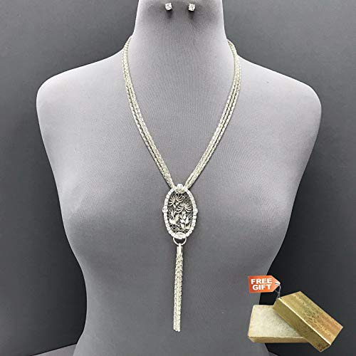 - Multi Layered Silver Chains Rhinestone Oval Pendant Necklace Tassel Set For Women + Gold Cotton Filled Gift Box for Free