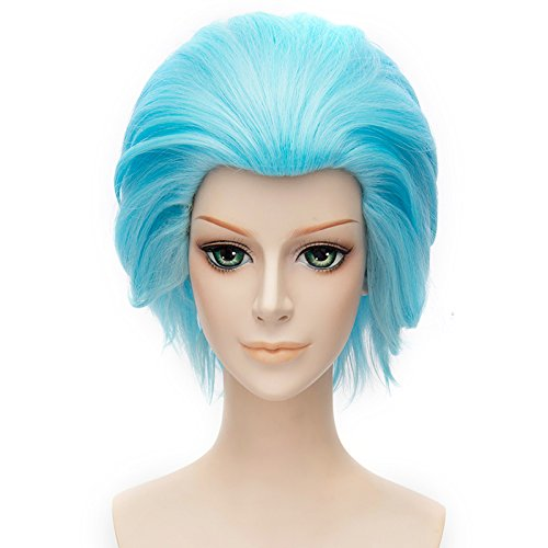 [MSHUI Cosplay Wig Short Spiky Anime Costume Wig Blue Hair] (Halloween 7 Deadly Sins Costumes)