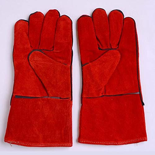 HNBY Glove Welder Welding Work Gloves Welding Machine Safety Gloves Wear-Resistant Long High Temperature Insulation Anti-scalding 8 Pairs (Color : Red) by HNBY (Image #4)