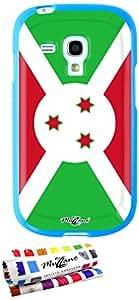 Carcasa Flexible Ultra-Slim SAMSUNG GALAXY S3 MINI ( I8190 ) de exclusivo motivo [Burundi Bandera] [Azul] de MUZZANO  + ESTILETE y PAÑO MUZZANO REGALADOS - La Protección Antigolpes ULTIMA, ELEGANTE Y DURADERA para su SAMSUNG GALAXY S3 MINI ( I8190 )