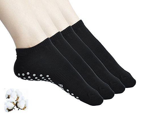 Aichatan Konater Womens Non Slip Skid Low Cut Casual Sport Yoga Short Cotton Socks 03 black