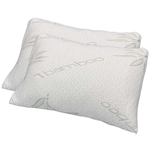 Hotel Comfort Premium Bamboo Memory Foam Pillow Queen Size - Set of 2. Ultra Cool Hypoallergenic Washable Bamboo Cover USA Designed Queen by Hotel Comfort