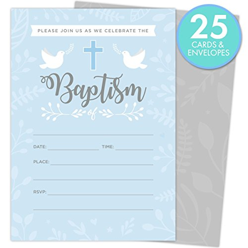 Baptism Invitations for Baby Boys, 25 Fill In The Blank Style Cards and Envelopes. Baptism Invitations