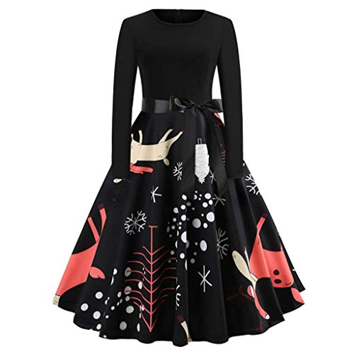 Sunhusing Ladies Christmas Print Solid Color O-Neck Long Sleeve Bow Belt Prom Pleated Swing Dress Gown -