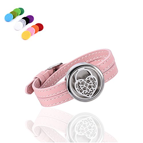 Price comparison product image Adjustable Genuine Leather Band Bracelet Fragrancy Jewelry Essential Oil Diffuser Fragrance Locket (Pink-Love Heart)